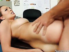 Oriental with round ass and hairless bush is sexually happy to be fucked by Johnny Castle with rock hard tool over and over again