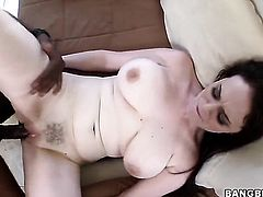 Brunette Tessa Lane with massive knockers makes guys schlong harder before getting her muff pie used interracially