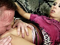 and goes home with him for a gritty sex scene that is awesome. She sucks his prick before bending over and getting pounded by his big cock in multiple positions. He cums inside of her slut hole with a juicy creampie cumshot.