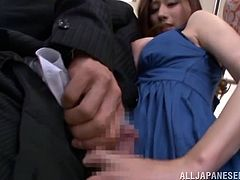 I brushed up against her on the subway and I could feel her big boobs, pressed up against my chest. It turns out she was aroused and pulled out her tits for all to see. The cutie pulled my cock out and whacked me off right on the train.