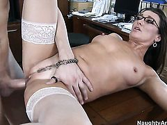 Amazingly hot hussy Michelle Lay has some time to give some pleasure to hard cocked guy Xander Corvus