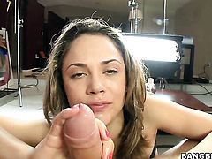 Senora Kristina Rose with small breasts feels the best feeling ever with mans sticky man cream all over her face