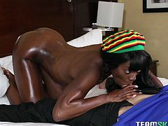 Don't you love big black booty that shakes tightly? I love it when it's covered with oil and massaged gently right in front of my eyes. Just watching her do that made me hard, let alone when she ate my cock. Should I put my penis inside her tight ass, her juicy pussy, or keep it in her mouth?