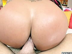 Brunette asian Ava Devine with big booty gets drilled interracially in her muff pie by horny dude