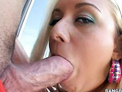 Blonde Brandy Blair with big ass plays with hard fuck stick