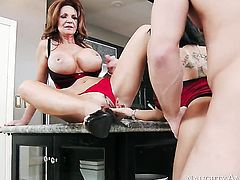 Gulliana Alexis with juicy booty and bald pussy is out of control with Johnny Castle s throbbing tool in her slit