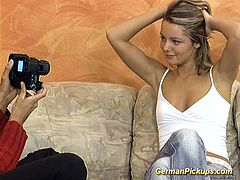cute blonde german teen picked up for her first anal video tape