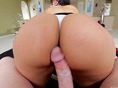 Long haired brunette Kimberly Kendall with beautiful round ass gives blowjob and flaunts her booty without taking off her tight fit white panties. Kevin Moore sticks his cock between her ass cheeks.