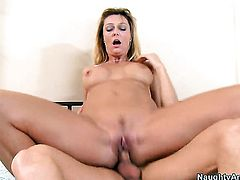 Brenda James with huge tits and trimmed muff fucks like theres no tomorrow in steamy sex action with horny guy Richie