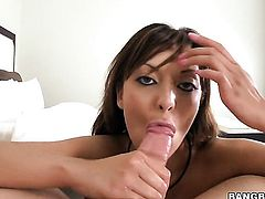 Brunette Audrianna Angel gets covered in jizz on camera for your viewing enjoyment