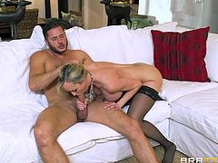 Brandi loves huge cocks, so she bends over and gets fucked hard from behind. After ramming her wet vagina hole, her man gets his massive member sucked by this glorious milf. She rides him some more and gets ready to take his cum. She looks so hot in her pantyhose.