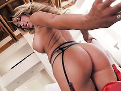 Tattoos with massive jugs and smooth snatch inserts sex toy in her beaver