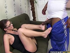 Brooklyn's feet get played with and fucked like the beautiful box between her legs. The same feet that worked up a sweat are now gliding up and down a huge black cock. Brooklyn's arches get worked out and Brian's load of jizz covers her gorgeous feet.