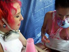 Ladies in white Proxy Paige and Tori Avano put their big natural boobs on display and then play lesbian games in masks. They love doing dirty things in front of the camera.