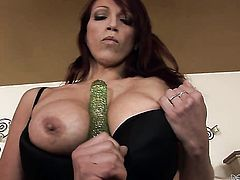 Ultra sexy breathtaker finds herself horny as hell and takes sex toy in her bush