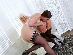 Two lovely lesbians in black stockings Jodi Taylor and Riley Jenner love playing anal games. Blonde gets her round ass licked, slapped and dildoed by her brunette girlfriend.