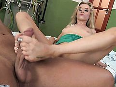Blonde Michelle Moist sucks like a first rate hoe in steamy oral action with horny guy