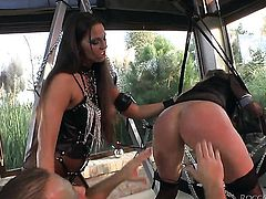 Rocco Siffredi fucks sinfully sexy Tiffany Shines mouth just like mad after she gets fucked in her back swing