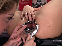 I don't know what Kiki has in her ass right now, but she has her asshole gaped very wide, wide enough for Lea to get her whole hand in there, rather than just a couple of fingers. These lesbos are having a wild time doing manual anal stimulation to each other, getting wet and having many orgasms.