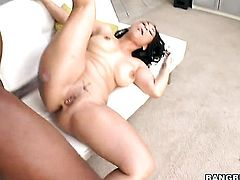 Brunette honey Jessica Bangkok with phat butt makes studs cock harder before getting her muff pie slam fucked
