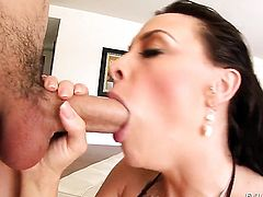 Chanel Preston keeps her mouth wide open to take Jonni Darkkos love torpedo deep down her throat