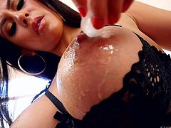 Dark haired busty woman Heather Vahn plays with her big nipples with her black bra on. Nothing can stop her from playing with her juicy titties. There are lots of close ups!
