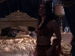 Roxy DeVille is a busty princess that is in the harem. It is her night to spend with the sultan so she gets naked and gets down to business of sucking dick.