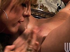 Brandi Edwards plays with Mia Presleys jugs before she rubs her wet spot
