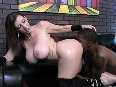 Mature Sara Jay with monster tits and big round ass is naked and ready for action. She enjoys big black cock in her mouth and then gets on all fours to take that schlong in her fuck hole from behind.