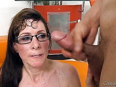 Busty cougar really likes cum