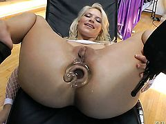 John Stagliano uses his rock hard sausage to bring Anikka Albrite to the height of pleasure