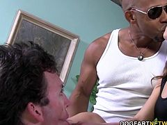 Shane Diesel comes in only after Riley's white cuckold has sucked down a black dong and gotten his lips glossed up. Riley keeps getting plowed by Shane's big black cock until his meat explodes allover her pussy.