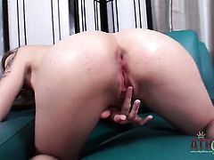 Blonde exotic with tiny breasts and clean cunt opens her legs to fuck her moist slit with toy