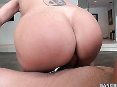 Abbey Brooks with big booty shows off her sexy body as she gets her pussy licked out by lesbian Ava Addams