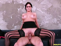 Phoenix Marie with gigantic jugs and smooth twat taking oral sex to the whole new level as she does