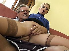 Christoph Clark shoves his schlong in glammed up Jessie Volts ass way after she gets her throat fucked
