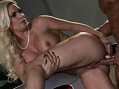 Diamond Foxxx gets her mouth attacked by guys rock solid ram rod