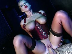 Feisty and hot dominatrix loves to impale herself on her slave's dick
