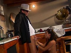 Kirsten Price blows dudes beefy stiff ram rod like theres no tomorrow