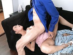 Vanilla DeVille with phat bottom has dick-hungry muff and takes Chris Johnsons tool