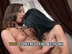 Two sex crazed lesbians are giving each other oral sex