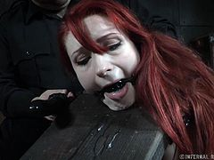 Violet wanted to try out some very kinky bondage stuff, but it was more than she could handle. She's even frustrated to crying at several points. She gets penetrated deeply with a dildo, made to suck it, then take it in again. Her pussy is completely stuffed with the toy, and she learns to love it.
