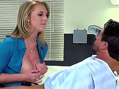 Dr. Wylde loves to make her patients happy. She knows that she can make them the happiest by taking off her uniform. She loves to rub their dicks with her large boobs.