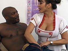 With her trusty stethoscope around her neck, Ava checks her patient out, searching for any irregularities. She thought something was wrong with his cock, so she decided to examine it, making sure to have him lie back and relax. After all, she's an experienced professional. She gets naked while she sucks.