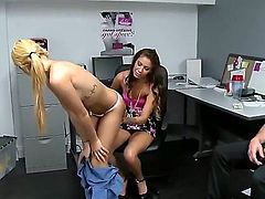 Cute girl is given some cash on money talks to ride a  large purple dildo. Then she is given some more cash to make a close up scene with another girl.