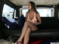 Brunette Jennifer Dark with gigantic hooters asks her fuck buddy to shove his stiff cock in her mout