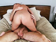 Ashley Graham with massive hooters and hairless pussy gets her many times used mouth stuffed again by horny man