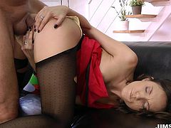 Nataly's red dress and kinky stockings turn on naughty Jim, who just can't wait to see her lovely buttocks, and bang her hard from behind. Click to watch this hot babe sucking dick with passion. Enjoy the hardcore juicy details!