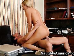 Blake Rose with huge knockers and smooth pussy is curious about ass fucking with hard dicked guy Tommy Gunn