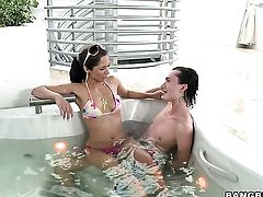 Brunette Reena Sky is sexually happy to be rammed by guy with rock hard snake over and over again